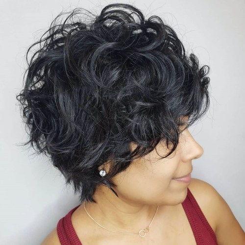 Krátky Blue-Black Tousled Curly Hairstyle c8e0b1f6fae