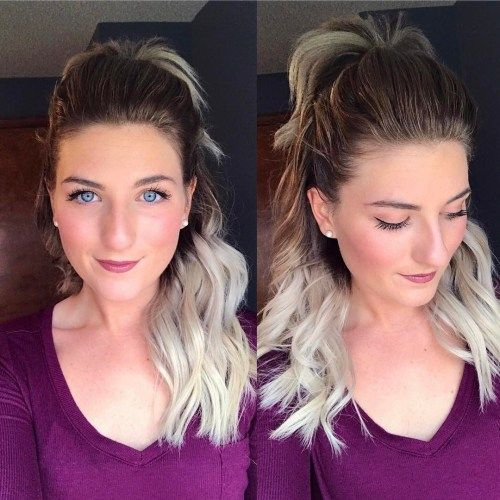 Halv Up Ponytail Ombre Hair