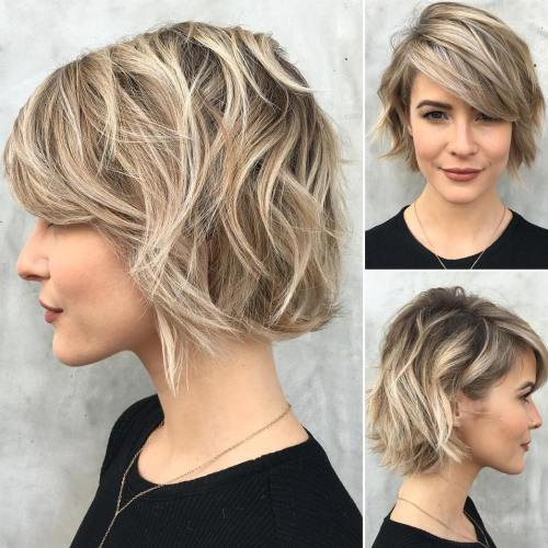 Chin-Length Choppy Brown Blonde Bob