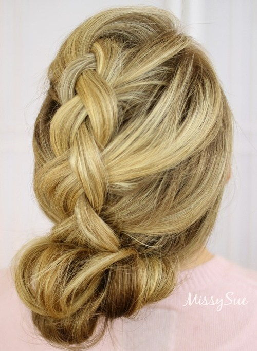 voľný braid and bun updo