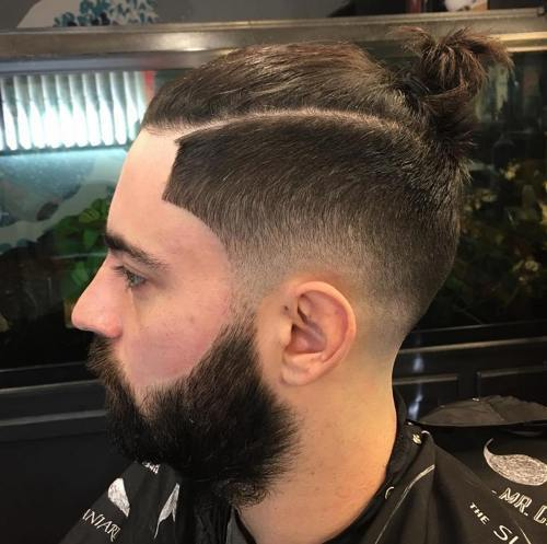 om bun with side fade hipster hairstyle