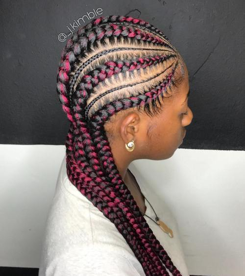 Debel And Thin Cornrows With Pink Streaks