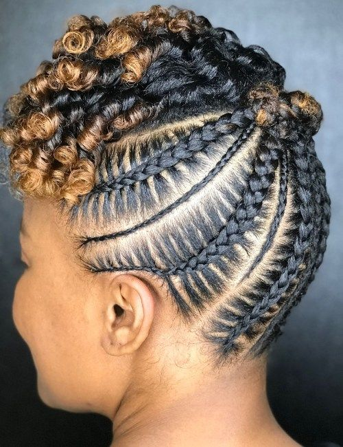 Črna Updo With Cornrows And Highlights