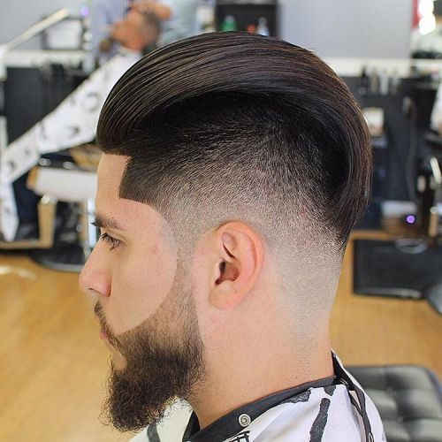 Lung Top Fade Haircut With Beard