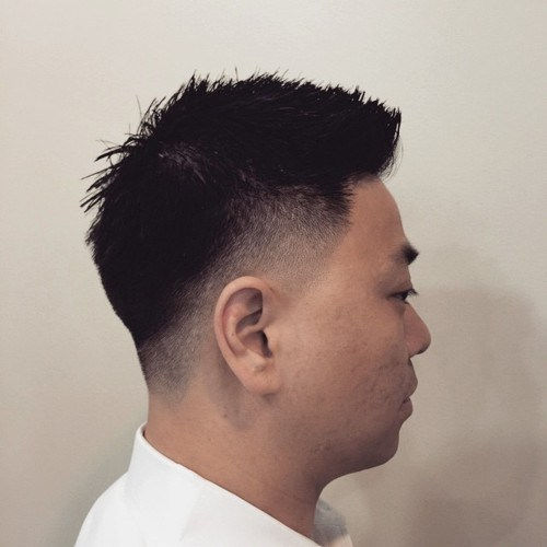 Azije men spiky cut with temple and nape fade