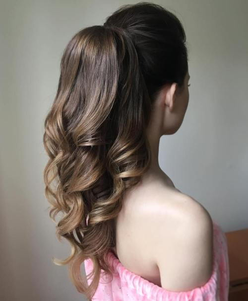 formálne Curly Ponytail For Long Hair