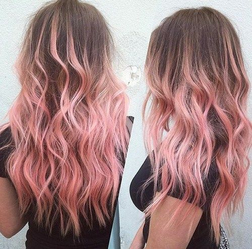 brun hair with pastel pink ombre highlights