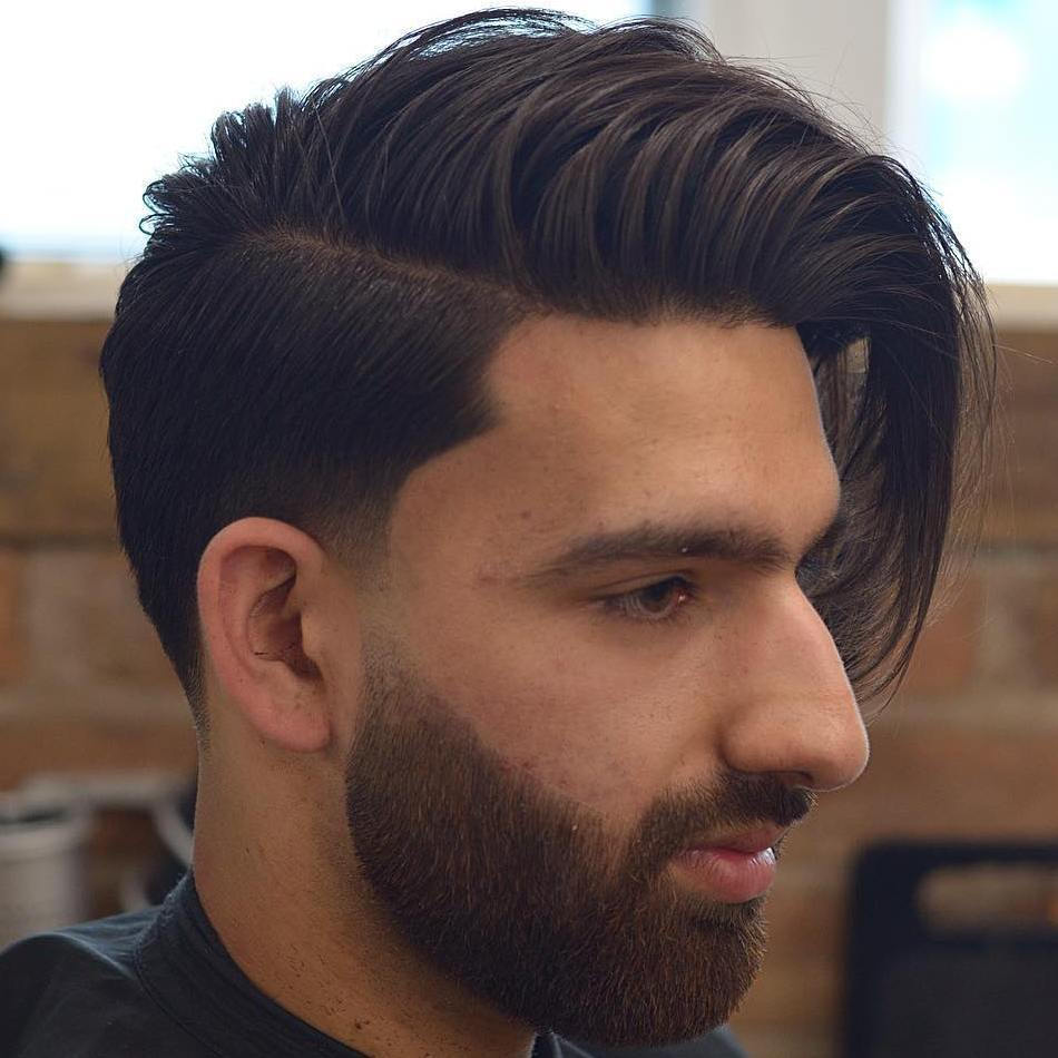Lång Top Short Sides Side-Swept Hairstyle