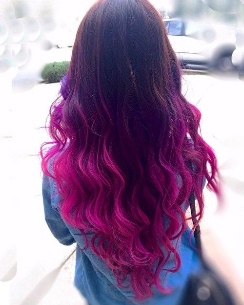 V cut and black to magenta ombre