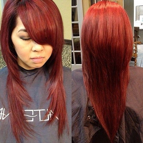 dolga red V haircut
