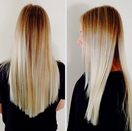dolga blonde ombre hair with V cut