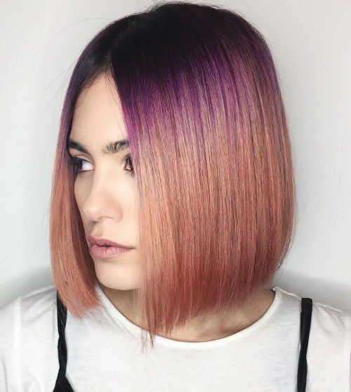 tupý Caramel Bob With Purple Root Fade