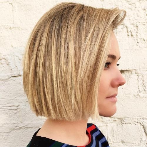 Med Blonde Blunt Chin-Length Bob