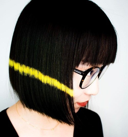 čierna Blunt Asian Bob With Bangs