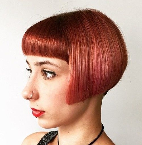 krátky blunt bob with bangs