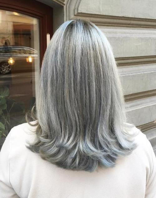 Srednje Gray Hairstyle For Straight Hair