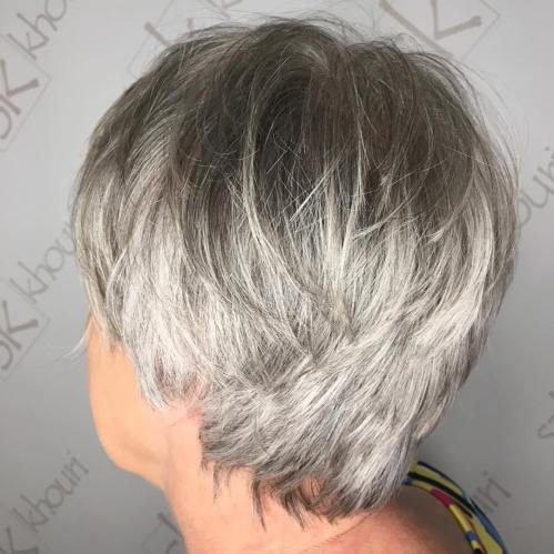 Tuzla Layered Gray Pixie For Older Women