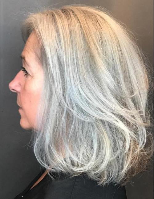 Layered Gray Lob For Older Women