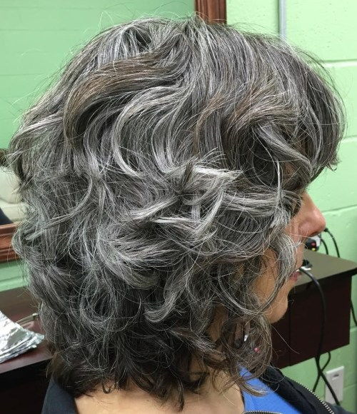 Srednje Layered Hairstyle With Gray Highlights