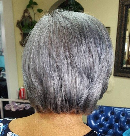 Kratek To Medium Layered Gray Hairstyle
