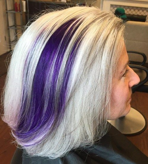 Pepel Blonde Hair With Purple Balayage For Older Women