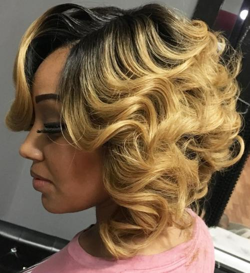 Blond Curly Bob With Black Roots