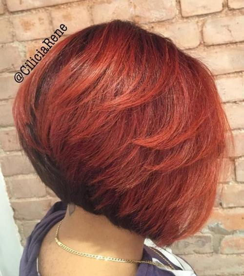 vinklad Black And Red Bob With Layers
