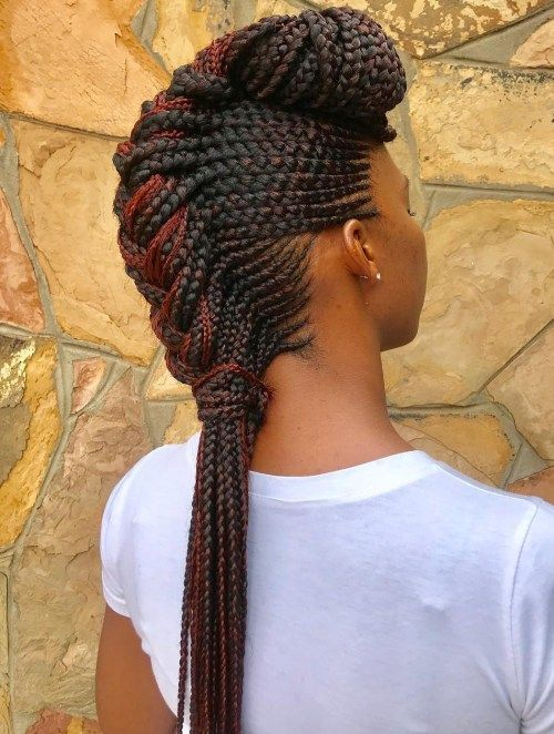 Negru Braided Mohawk With Pompadour