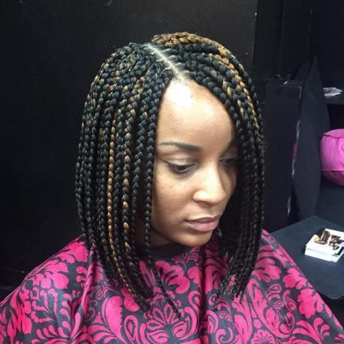 Negru Bob Braids With Highlights