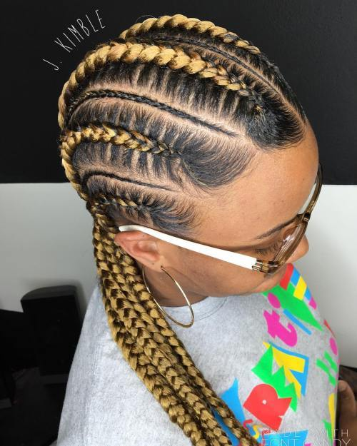 Blondă Cornrows For Black Hair