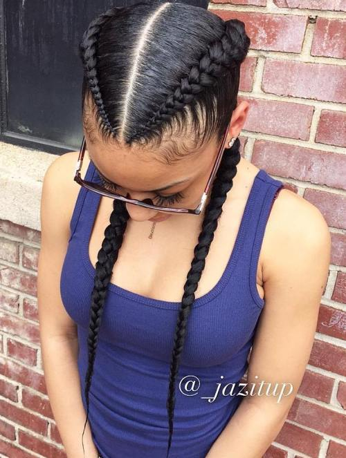 Două Black Feed In Braids