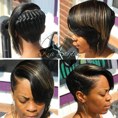 Negru Asymmetrical Braided Hairstyle