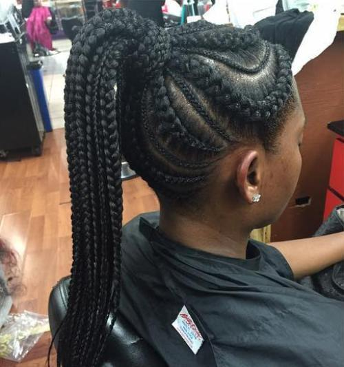Mare And Small Cornrows With A High Ponytail