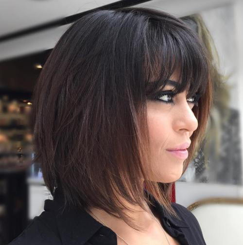 Mörk Brown Layered Bob With Bangs