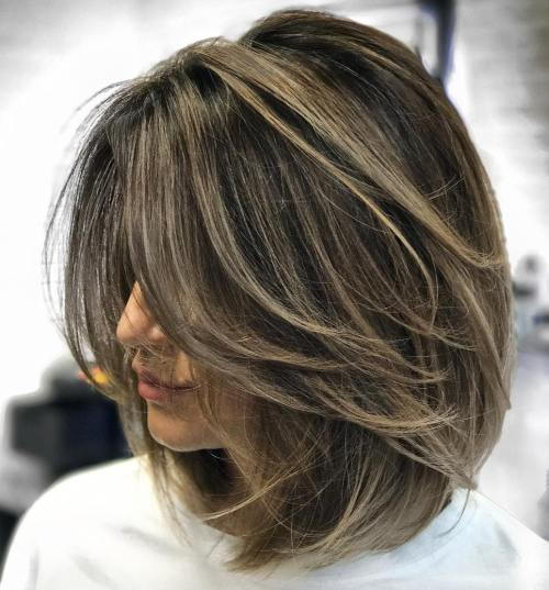 Aska Brown Balayage Lob With Layers