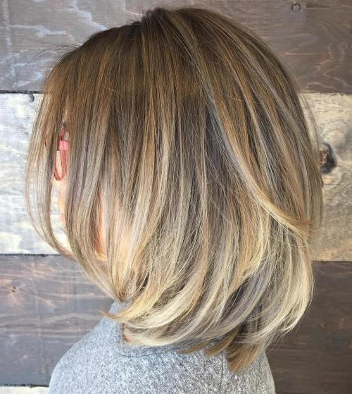 Bronde Layered Bob With Ash Blonde Ombre