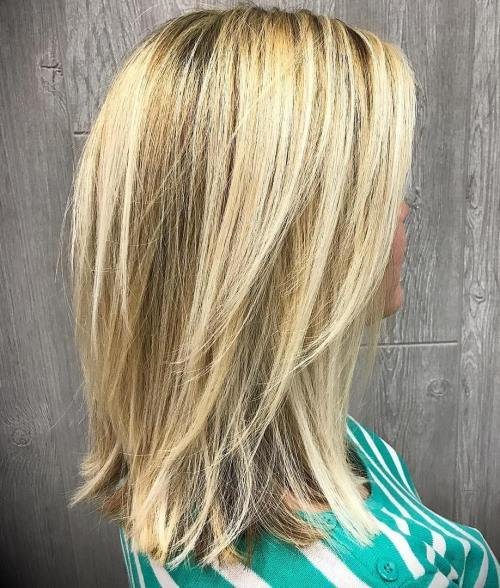 Blond Lob With Long Layers