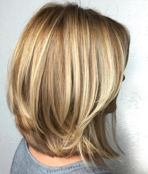 Honung Blonde Layered Bob For Thick Hair