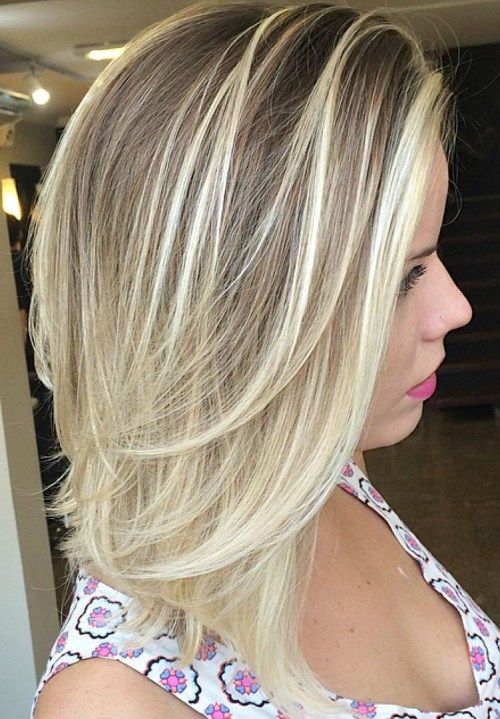 Mitten Length Layered Bronde Balayage Hair