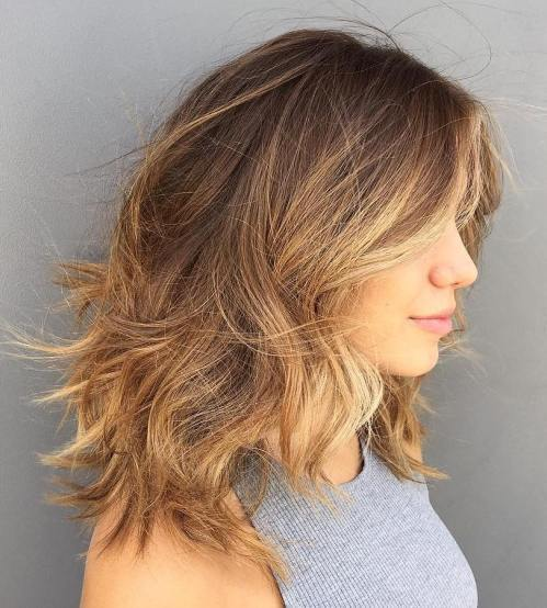 Medium Brown Blonde Shag For Thick Hair