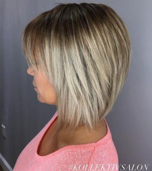 Drept Bronde Bob With Bangs