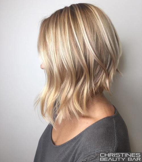 unghiular Blonde Lob For Fine Hair