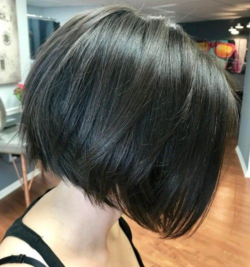 Lucios Black Bob With Layered Ends