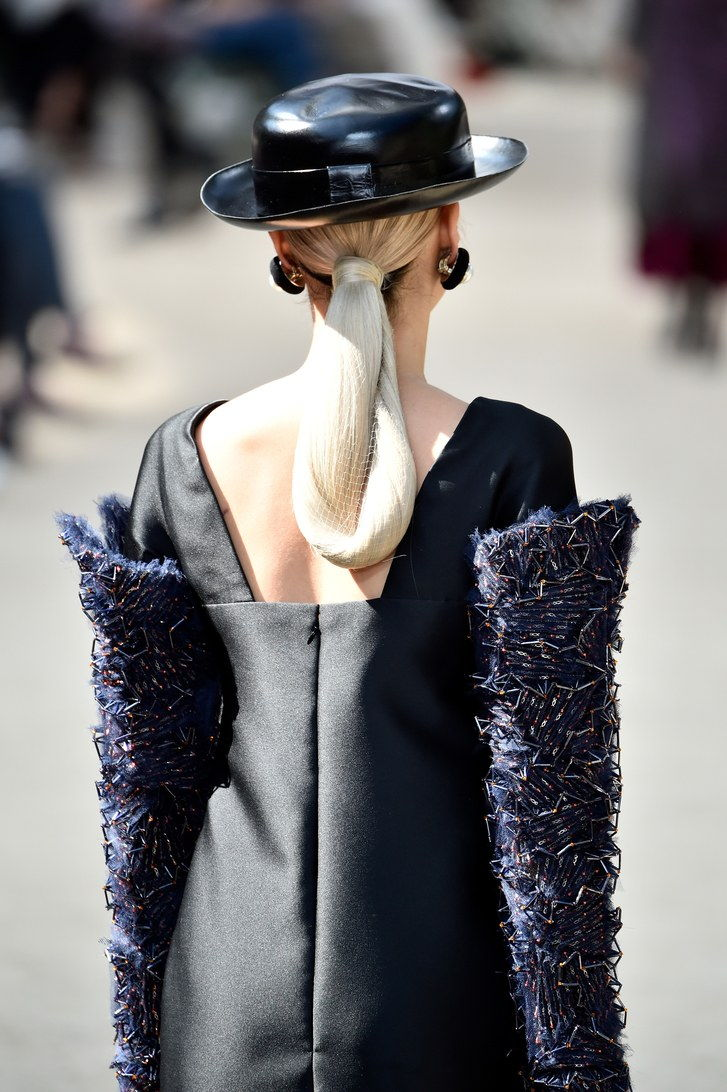 model, back detail, walks the runway during the Chanel Haute Couture Fall/Winter 2017-2018 show as part of Haute Couture Paris Fashion Week on July 4, 2017 in Paris, France.