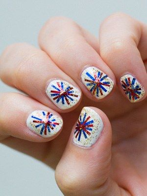 Ea Knows's fourth of july nail art