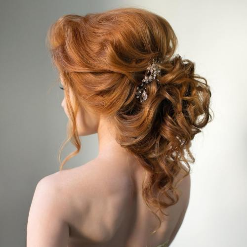 Lockig Ponytail Wedding Updo
