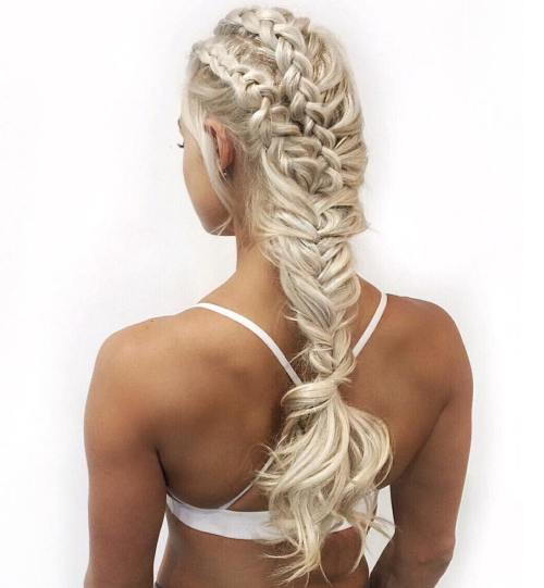 sportiv hairstyle with fishtail braid