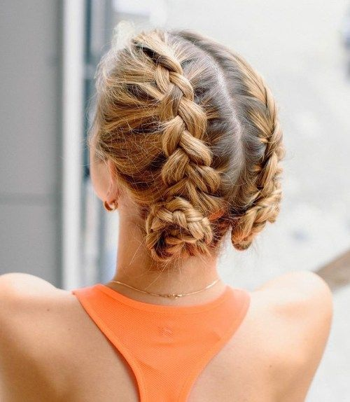 neted Dutch Braids into Small Buns