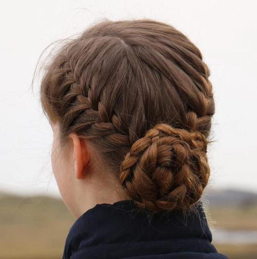 Două braids and a low braided bun updo