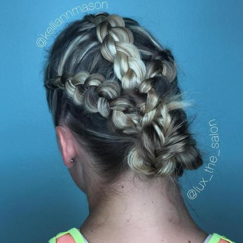 latură braids and a bun quick easy updo for gym